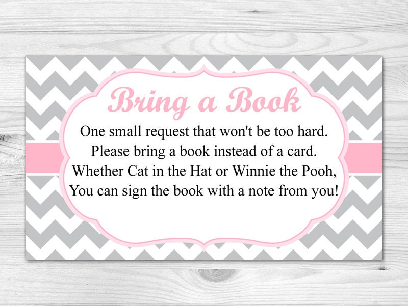 bring a book card printable baby shower insert card pink