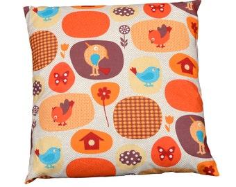Cushion / cover removable 40x40cm fabric 'Woodpecker Orange'