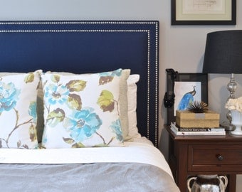 Upholstered Headboard, King, Queen, Full, Twin Size Oxford Shape, Navy Blue Linen Fabric, Double Row Hammered Nickel Nailheads