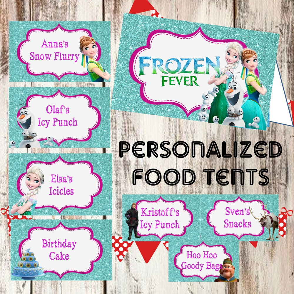 FROZEN FEVER PERSONALIZED Food Tents Cards Labels Printable