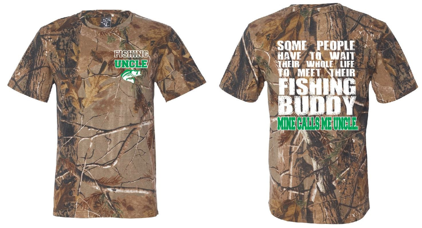 Fishing uncle camo t shirt mine calls me uncle shirt uncle tee for Camo fishing shirts