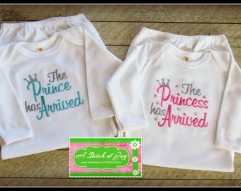 The Prince Has Arrived, The Princess Has Arrived Layette Gown or Bodysuit