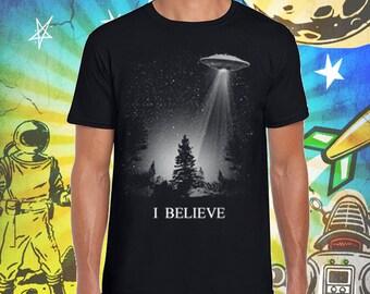 I Believe UFO Men's 100% Ring Spun Cotton T Shirt XFiles Tshirt