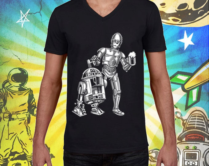 Star Wars R2 /  3PO Men's V-Neck Jet Black 100% Ring Spun Cotton T-Shirt Dune Sea Cold Ones Star Wars Beer Tshirt