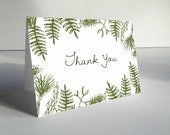 Printable Thank You Card - In the Woods - Hand Drawn - Woodland Inspired - Forest - Fern & Pine Bow - Wedding