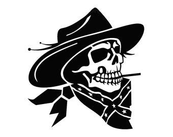 Cowboy Skeleton with Confederate Flag Bandana - Di Cut Decal - Car ...