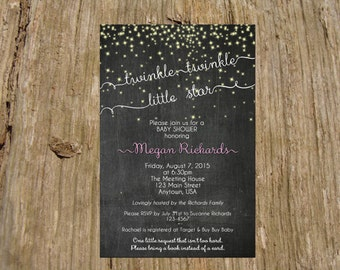 Twinkle Twinkle Little Star Chalkboard Invitation/Announcement, Baby Shower, Digital Printable File