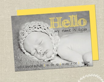 Baby Announcement / Birth Details Announcement / Baby Birth Details / Thank You Announcement Card / Keepsake Printable Baby Photo Card BA013