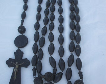 French Vintage religious wooden Monk's rosary. Souvenir of Lourdes LARGE..Monk's Rosary
