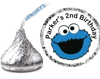 216 ~ Sesame Street COOKIE MONSTER Birthday Party Hershey Kiss Kisses stickers Labels ~ FREE Shipping