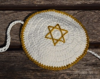 White Cotton Baby Boy Yarmulke/Kippah/Kippa Crochet for Bris with chin strap