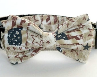 Vintage Patriotic Dog bow tie ONLY