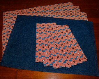 Fourth Of July Handmade Flag Placemats & Napkins (Set of 4) FREE SHIPPING