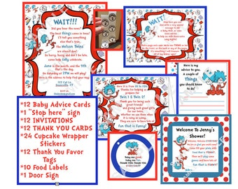 Dr. Seuss Baby Shower Package Twin Thing 1 & Thing 2 themed Physical Items Not Digital Download
