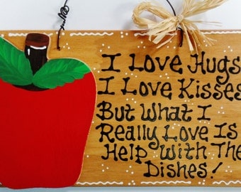 APPLE Hugs~Kisses~Dishes KITCHEN Sign Fruit Decor Wall Country Wood Crafts Decor Plaque Handcrafted Handpainted
