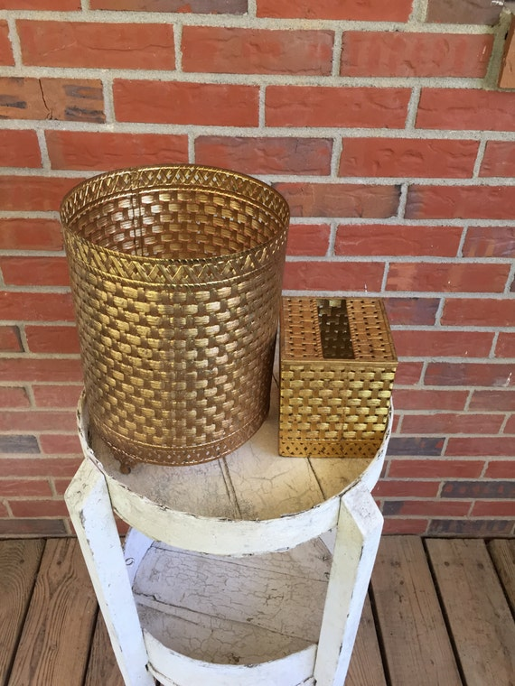 Vintage brass filigree waste basket and tissue box covers for Gold bathroom wastebasket