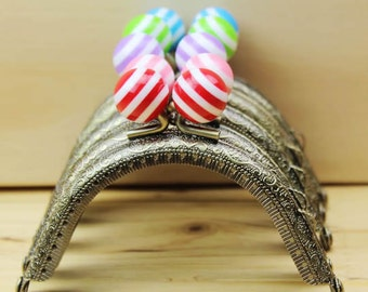 1 PCS of 8.5cm / 3.3 inch Bronze Half Round Purse Frame / Kisslock Frame w/ Striped Beads, 6 Colors Available