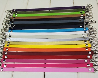 A Pair 30cm / 12 inch Long PU Leather Solid Wrist Strap with Silver Lobster Clasp