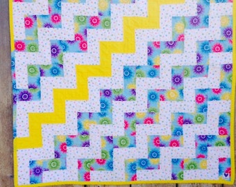 Baby girl patchwork quilt - baby girl rail fence quilt - bright baby quilt - baby shower gift - minky baby quilt