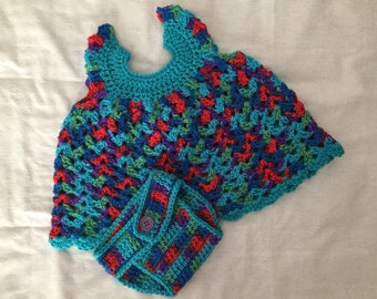 Crochet Baby Pinafore & Diaper Cover