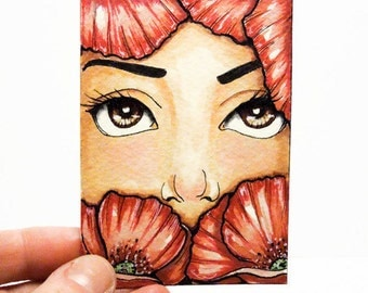 ACEO  , Original ACEO , Mixed media ACEO ,Poppies  , One of a Kind, fantasy