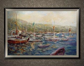 Original oil painting, hand painted landscape/Seascape/Boat oil painting, custom decorative wall art painting/custom oil portrait on canvas