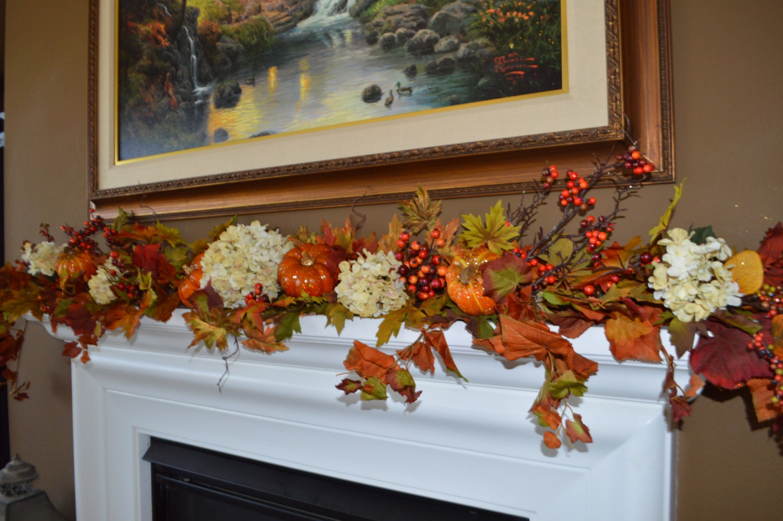 fall garland hydrangea garland mantle garland fireplace