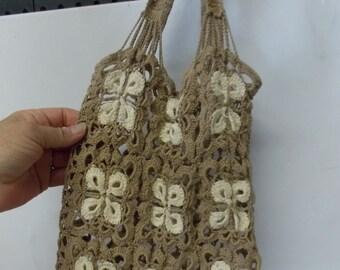 Vintage Handmade Crochet Handbag Purse Bag Khaki & Ivory