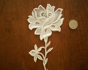 cotton 1920s antique lace applique Rose