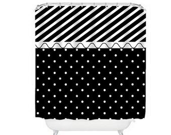 Black and White Shower Curtain Polka Dots Stripes Modern
