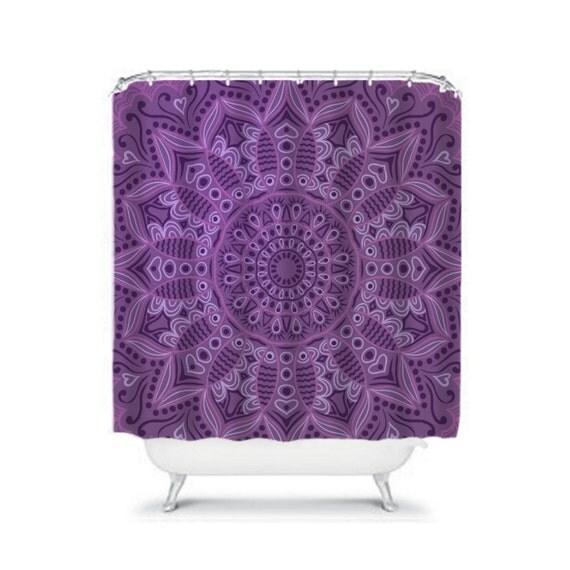 shower curtain boho pattern purple by folkandfunky on etsy