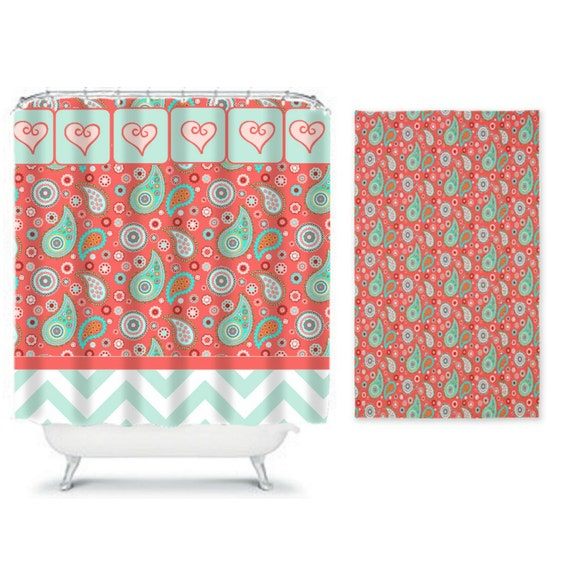 items similar to shower curtain and rug set paisley kissed