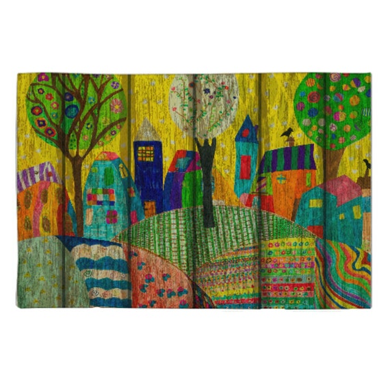 Colorful Rug Designs: Area Rug Throw Rugs Whimsical Folk Art Design Weathered