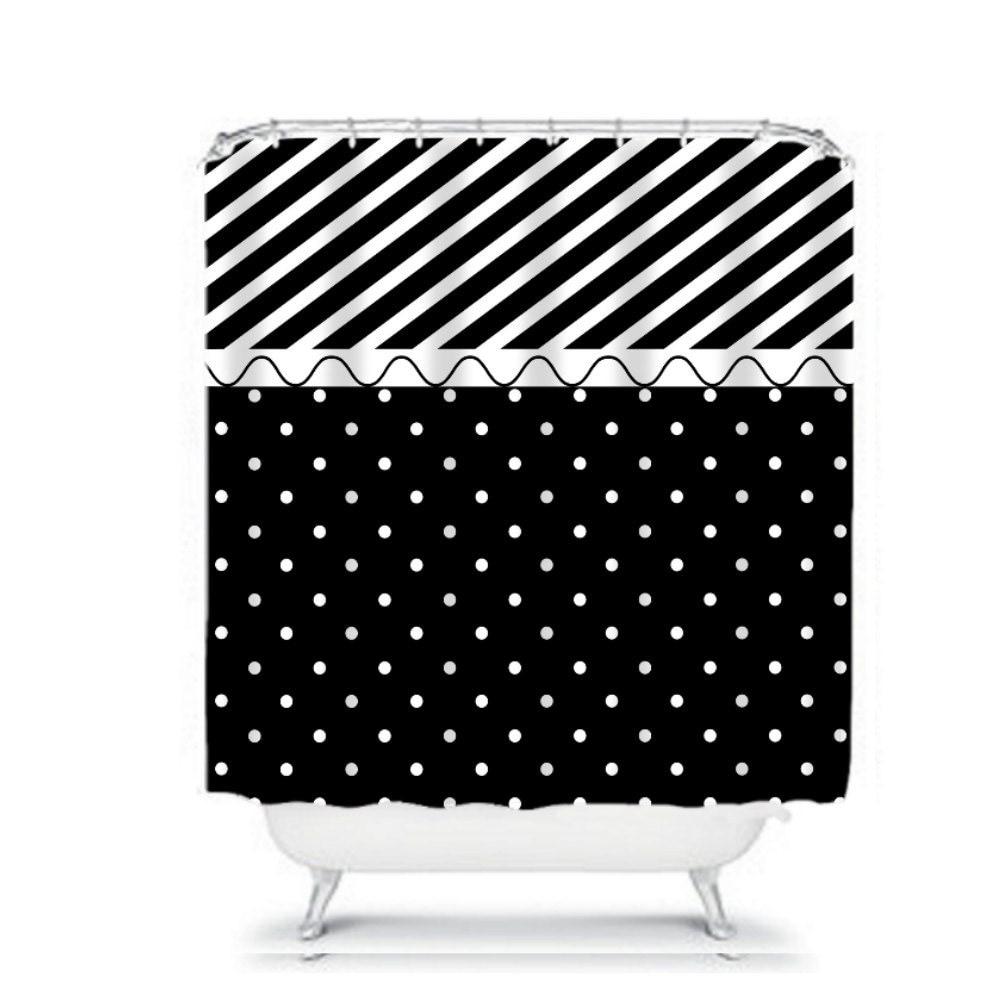 black and white shower curtain polka dots stripes modern. Black Bedroom Furniture Sets. Home Design Ideas
