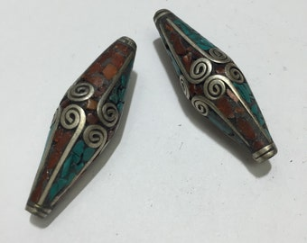 B19 Long Tibetian Turquoise and Coral Beads (2pc)