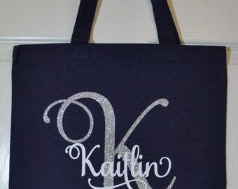 Custom Bridesmaid Gift Bags - Bridesmaid Shown - Customize for names, colors (navy shown), bridesmaid, maid of honor, bride