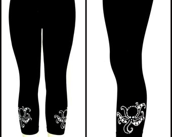 Plus Size Capri Length Leggings Embellished Pearly Octopus Design
