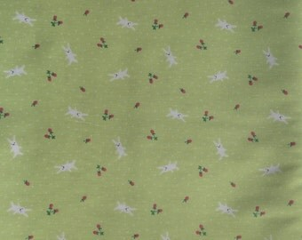 Half Yard- D's Selection DH11989S  Produced By Fumika Oishi- White bunnies/ rabbits and tiny strawberries Apple Green Background