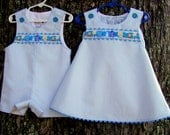 PRICE REDUCED ! !  Toddler Summer Clothing, Brother Sister Outfit, Blue & White Seersucker, Boy Jon Jon, Baby Girl Jumper, Infant Clothing