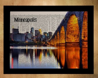 Minneapolis Stone Arch Bridge Dictionary Art Print Twin Cities Minnesota Upcycled Book Wall Art Gift Ideas da843