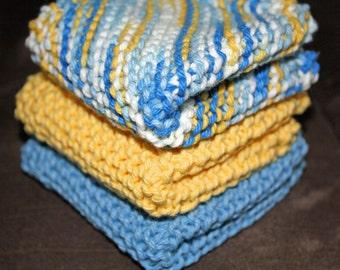 Knit Dish Cloth, Knit Dishcloth, Set of 3