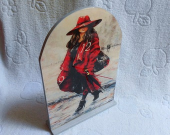 """Decoupage table clock """"Lady in red"""", wooden table clock, gray and red table clock"""