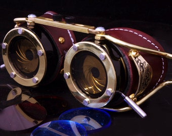 Steampunk Goggles Dual Iris aperture Victorian Goth Brass Brown LARP Cosplay Engraved