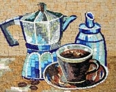 Tea Kettle and Cup Backsplash Mosaic Marble Handmade. MK072