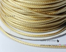7 Yards 2mm Light Gold Wax Cords, Environmental Protection Wax Cords WS230