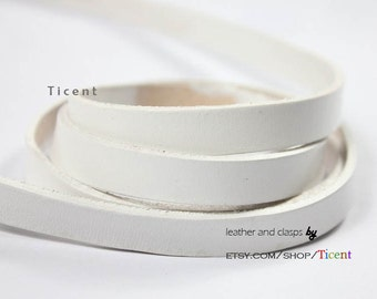 10mm White Genuine Leather Strip, 10mmx2mm Coated Real Leather 1 yard, GF10M-84