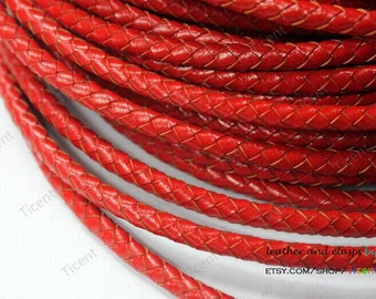 5mm Red Round Genuine Bolo Leather, Red Braided Bolo Leather Strap-1 Yard, BP5M-64
