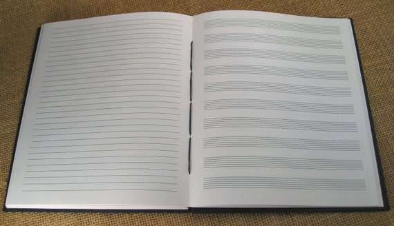 Guitar TAB/Lined Paper Side-by-Side Music Journal: Songwriting Book, Tablature Notebook ...