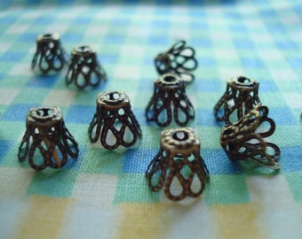 100 Antique Bronze Filigree Basket Caps. Medium Size. 7x8mm Overstock Sale! ~USPS Ship Rates/ Oregon