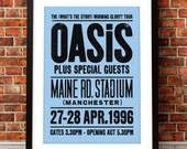 Oasis concert poster, Oasis print, music inspired print, concert print, Maine Rd, Oasis, Oasis poster print. Liam Gallagher, Noel Gallagher
